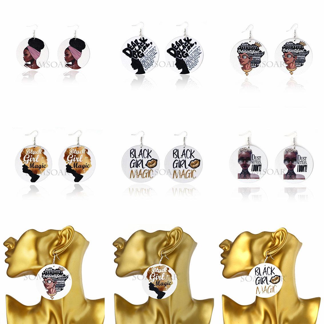 6Styles 아프리카 헤드 나무 펜던트 귀걸이 매달려 라운드 인쇄 된 편지 나무 후프 귀걸이 귀고리 귀 후크 여성 디자이너 보석 선물