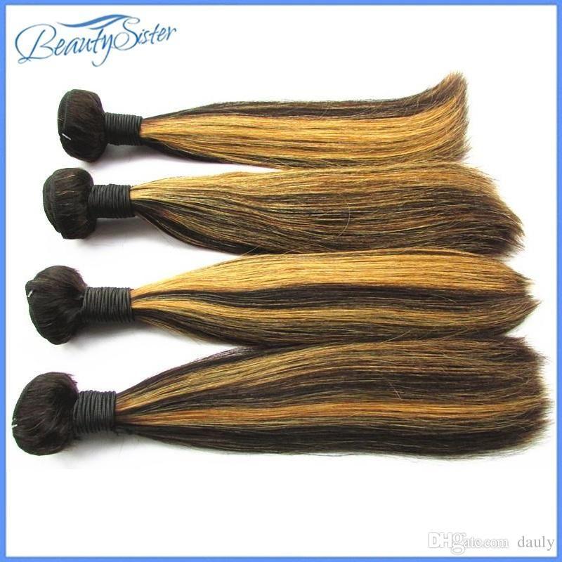 جعل النظام عظمى 10A ضعف الانتباه لذيذ على التوالي حزم الإنسان الشعر لون المزيج 1B / 27 10bundles غير المجهزة عذراء البرازيلي الشعر التمديد