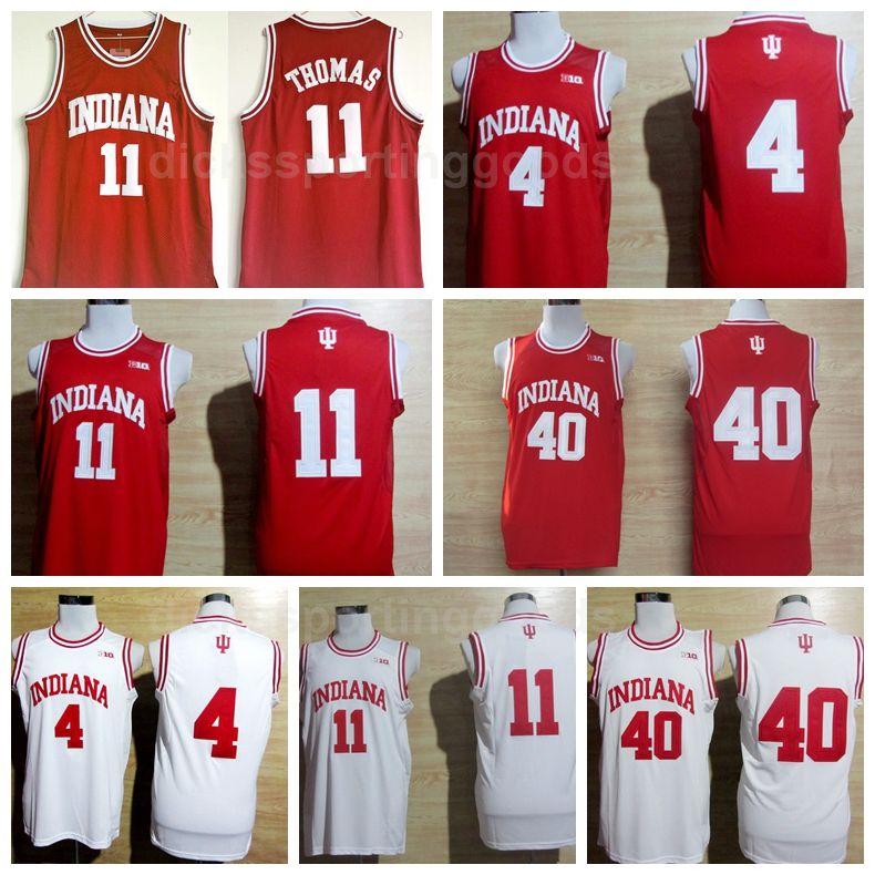 NCAA College Indiana Hoosiers 4 Victor Oladipo Jersey Homens Basquete 11 Isiah Thomas 40 Cody Zeller Jerseys Team Red Away Branco