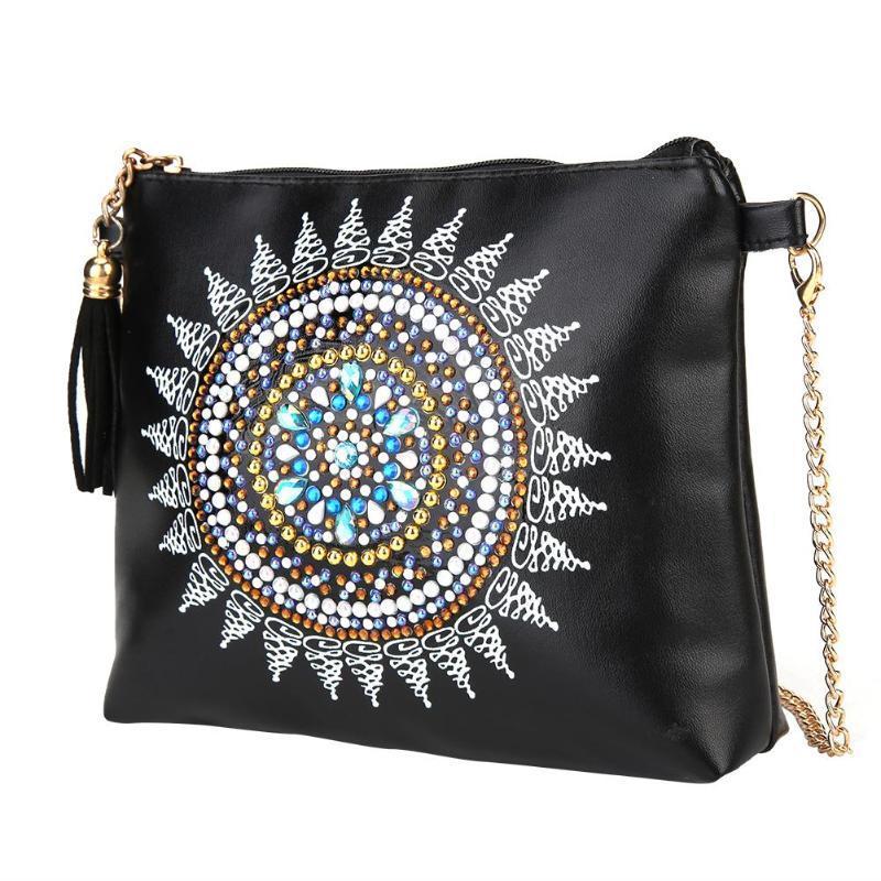 Yfashion DIY 5D elmas boyama cüzdan omuz Messenger çanta El-delinmiş malzeme Kiti Mandala Çiçek desen