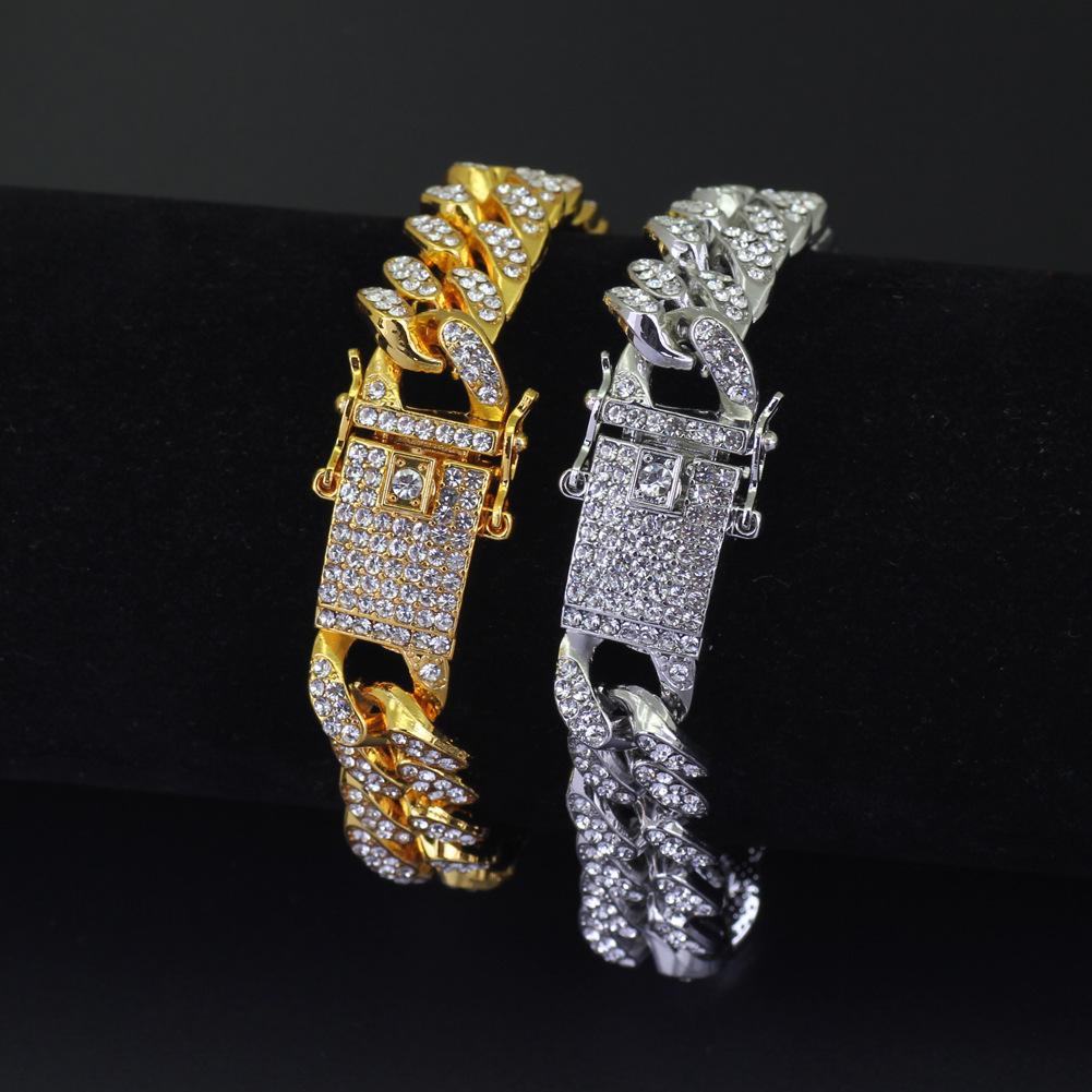12mm Gold Silver Diamond Iced Out Hip Hop Bracciale CZ Mens Miami Cuban Collegamento Catene Men's Luxury Simulato Bling Simulato Bling Braccialetti