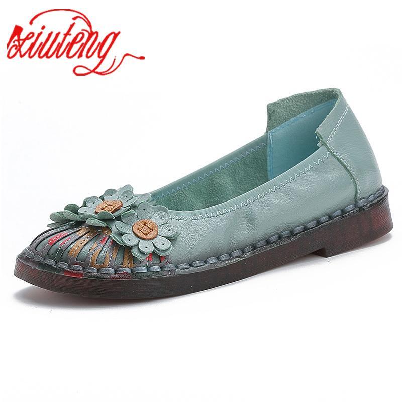 Scarpe Xiuteng 2019 donne di marca di estate di modo delle signore elegante pattini casuali di OL Ufficio della proprietà Comfort di svago della donna vera pelle scarpe LY191202