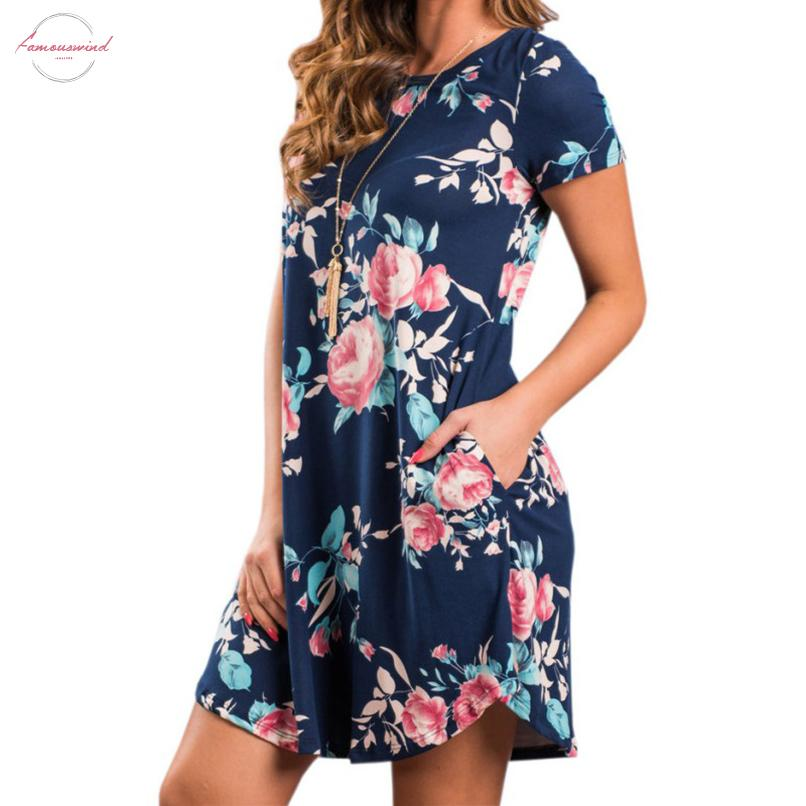 Summer O Neck Women Mini Dress Floral Print Short Sleeve Dresses Party Vestido Cap Sleeve For Dropshipper