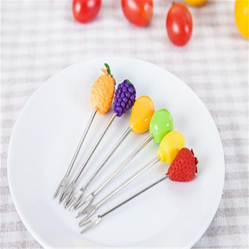 6pcs cocina creativa lindo de la fruta sesión fruta del acero inoxidable Tenedor Con base fruta del alimento Selecciones Tenedor accesorios de cocina