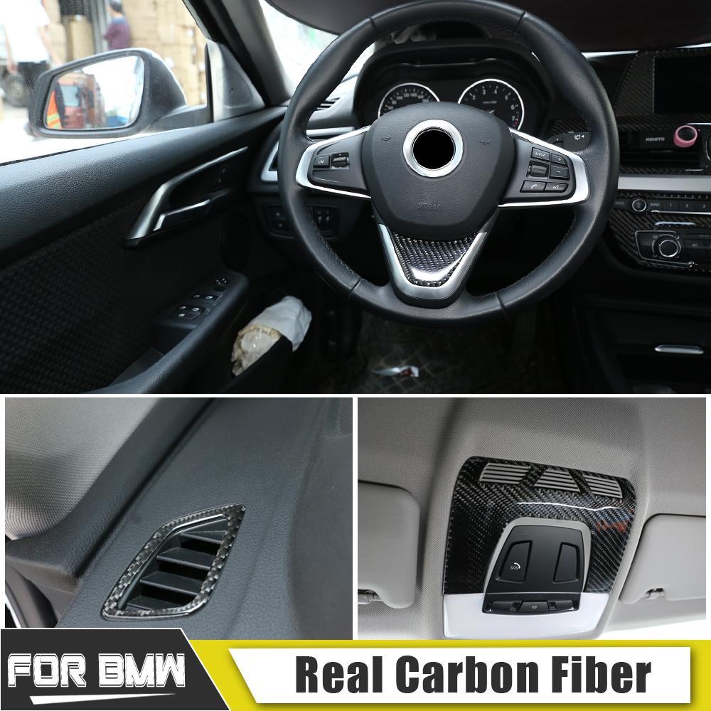 intérieur en fibre de carbone avant de voiture liseuse couverture de sortie d'air Autocollants Pour BMW Série 1/2/3 X1 X2 X5 X6 2012-2019 Styling