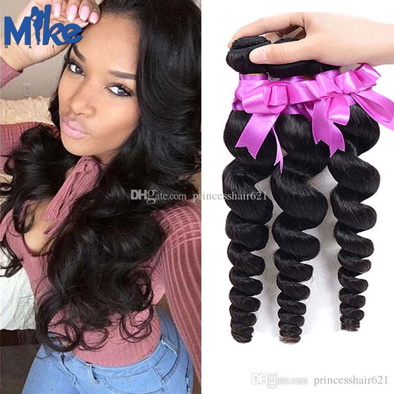 Mikehair Malezyjski luźny fave Włosy splot norek brazylijski włosy 3 pakiety 8-30 cali peruwiański Indian Remy Human Hair Extensions dla czarnych kobiet