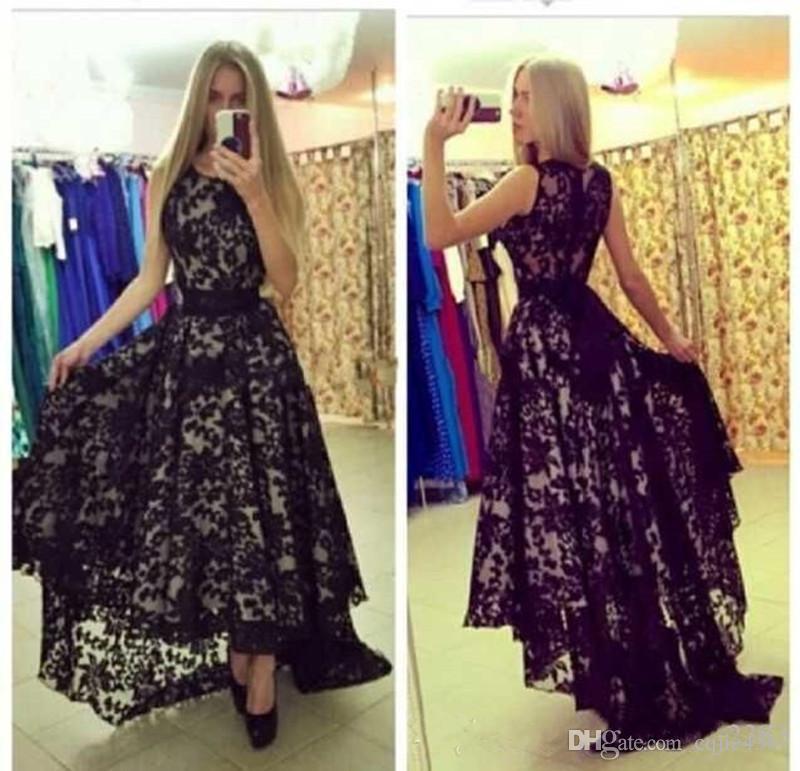 2020 новый Vestido de festa сексуальное прозрачное кружевное вечернее платье с высокой низкой юбкой A-line Лента бант пояс длинные черные вечерние платья