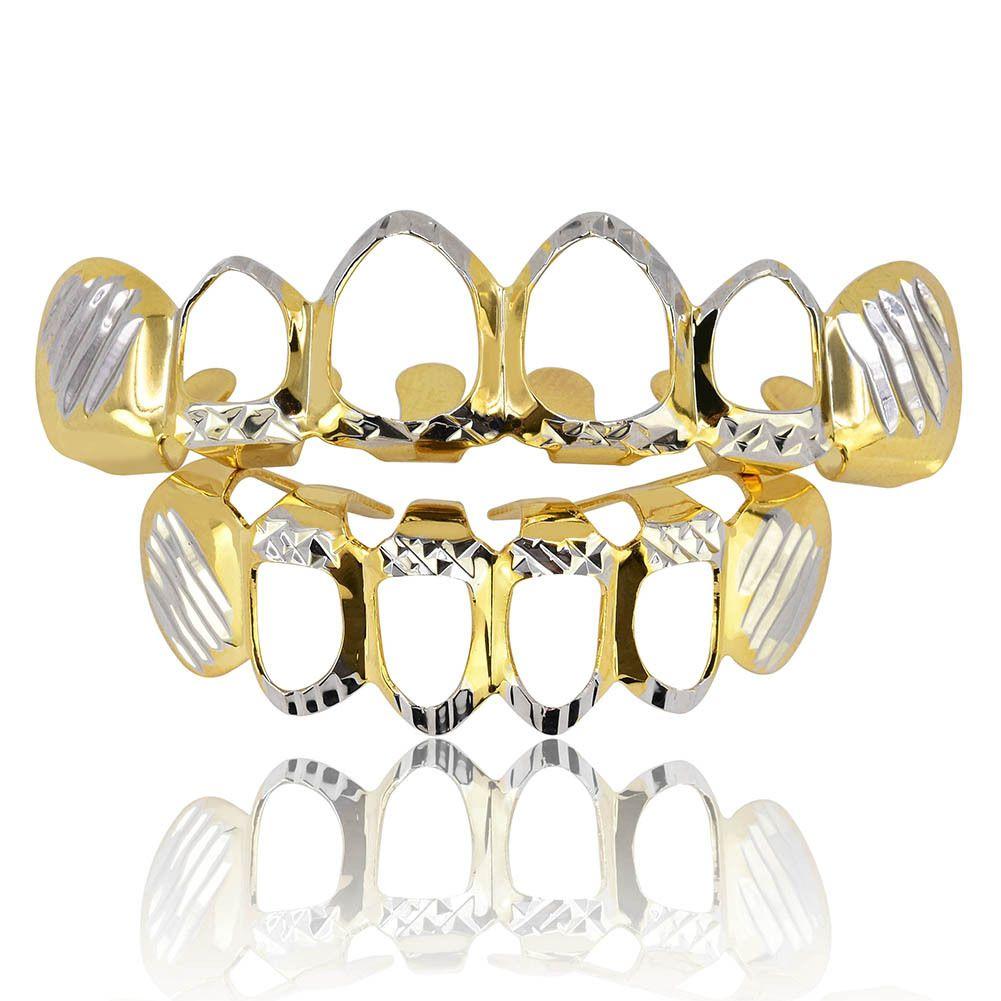 Flower-wrapped Hollow Hip-hop Gold Braces 18K Real Gold Teeth Grillz Top Bottom Grill Set Men Women Vampire Grills
