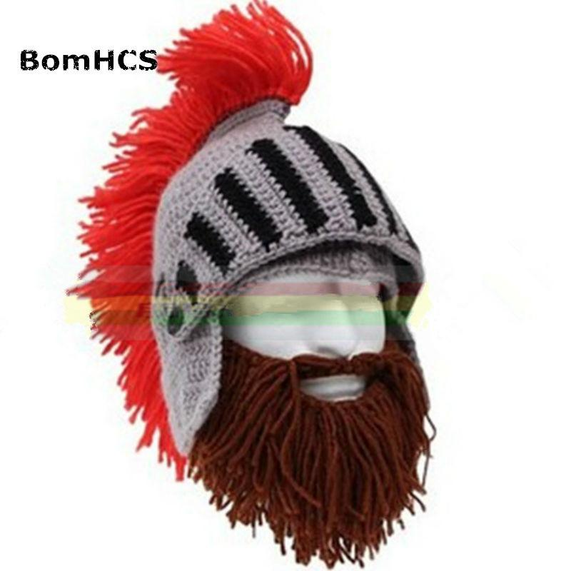 BomHCS Red Tassel Cosplay Roman Knight Knit Helmet Men's Caps Original Barbarian Handmade Winter Warm Beard Hats Funny Beanies D18110601