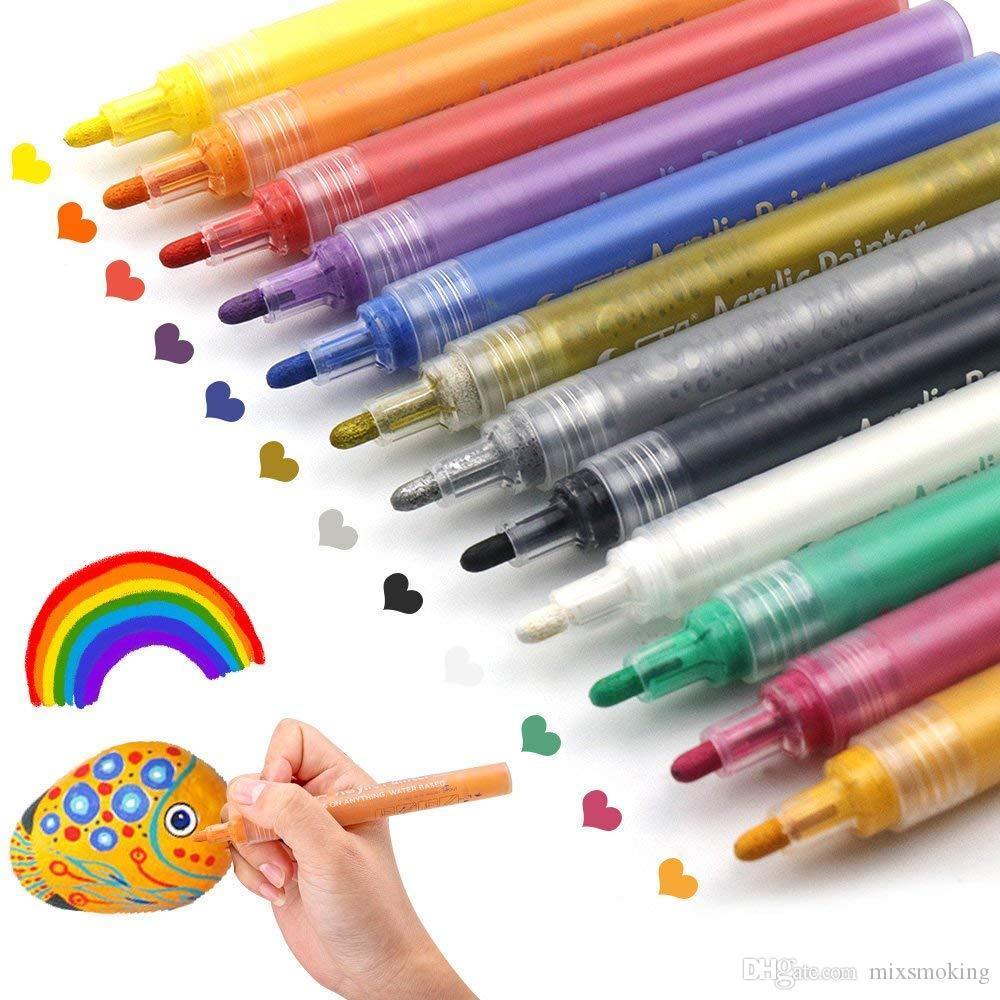 Rocks Resim, Seramik DIY Craft Yapımı Sarf Malzemesi Akrilik Boya Kalemler. Su Bazlı Akrilik Marker Kalemler Kalıcı boya. 12 Renkler / Seti
