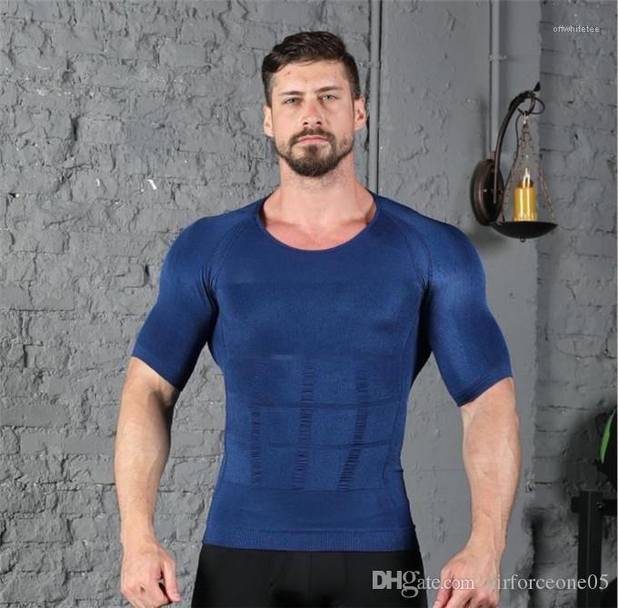 Shapers Queima de Gordura no peito barriga cintura instrutor Slimming Tops Bodybuilding dos homens roupas de ginástica Tanques Mens corpo