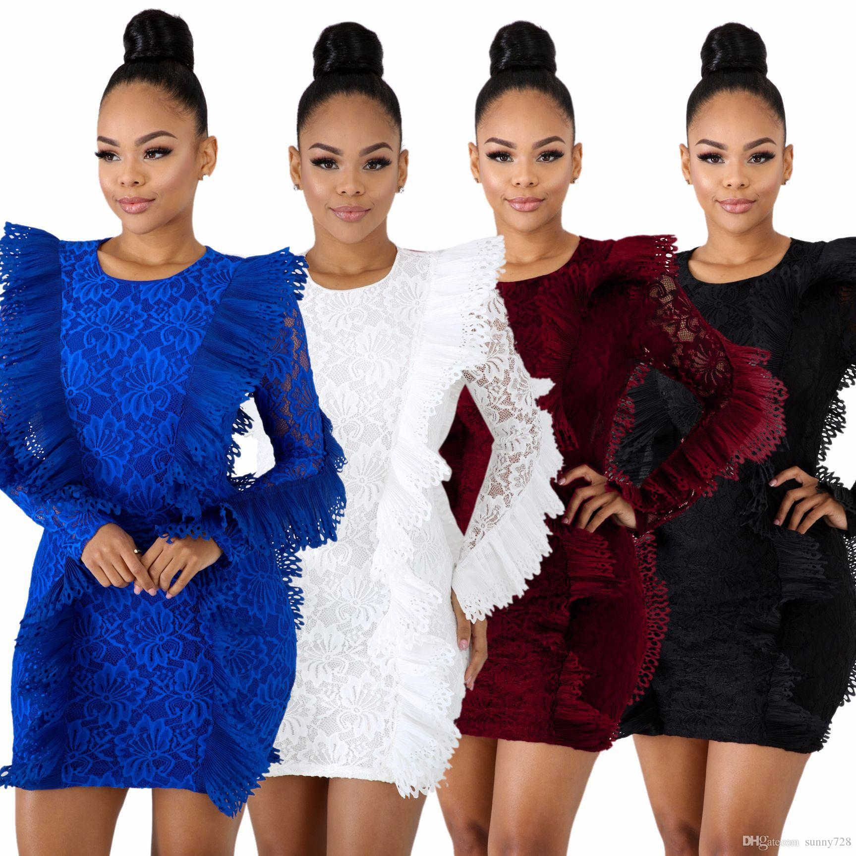 2019 Newest Lace Ruffles Elegant Party Dresses Long Sleeves Pleat Zippe Back Short Bodycon Dress Real Pictures High Quality Fabric 4 Colors