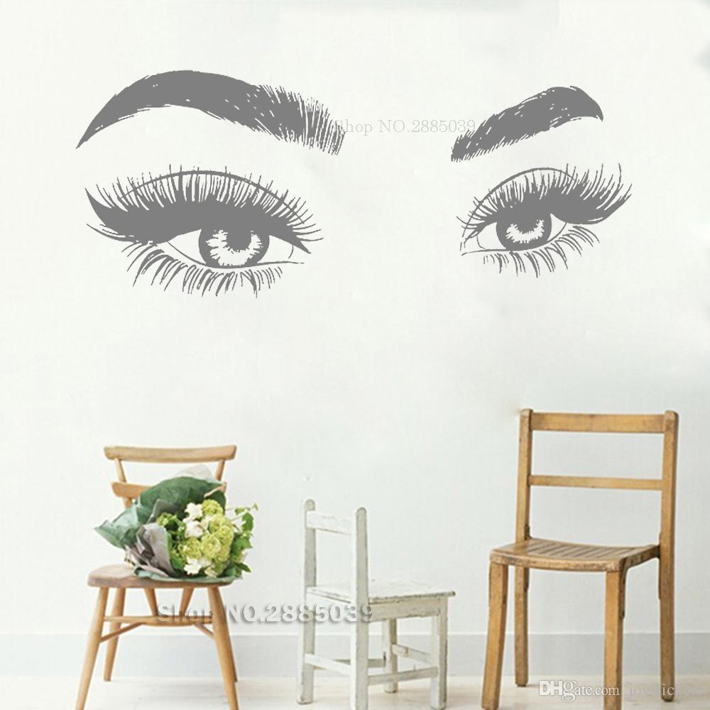 Новые творческие глаза Ресницы стены наклейки Art Vinyl Mural Салон красоты Магазин Декор стены Мода Большой Глаз Брови Обои