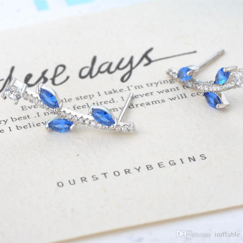 Orecchini in argento sterling in argento blu 925 per le donne di modo Argento 925 gioielli regali semplici orecchini Brincos Para come Mulh