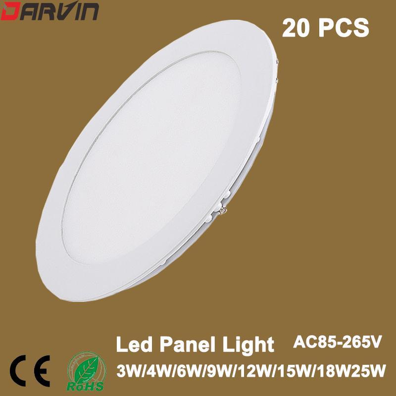 Led Pannello luce AC85-265V della lampada 3W 4W 6W 9W 12W 15W 18W 25W LED rotonda ultra sottile da incasso a LED, illuminazione interna