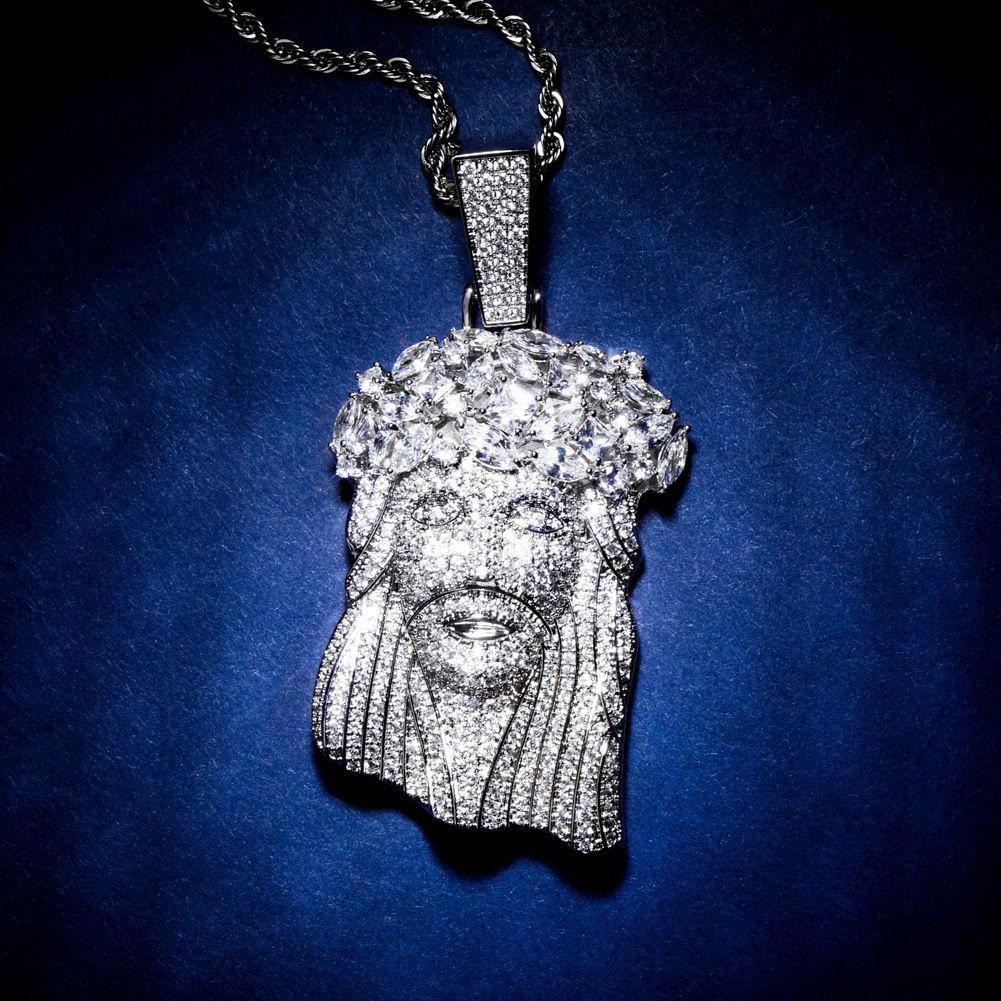 يسوع قطعة قلادة مجوهرات رجالي هوب هوب مصمم ترف بلينغ الماس مثلج خارج قلادة الكوبية ربط سلسلة مغني الراب الذهب الفضة زينة الرجال