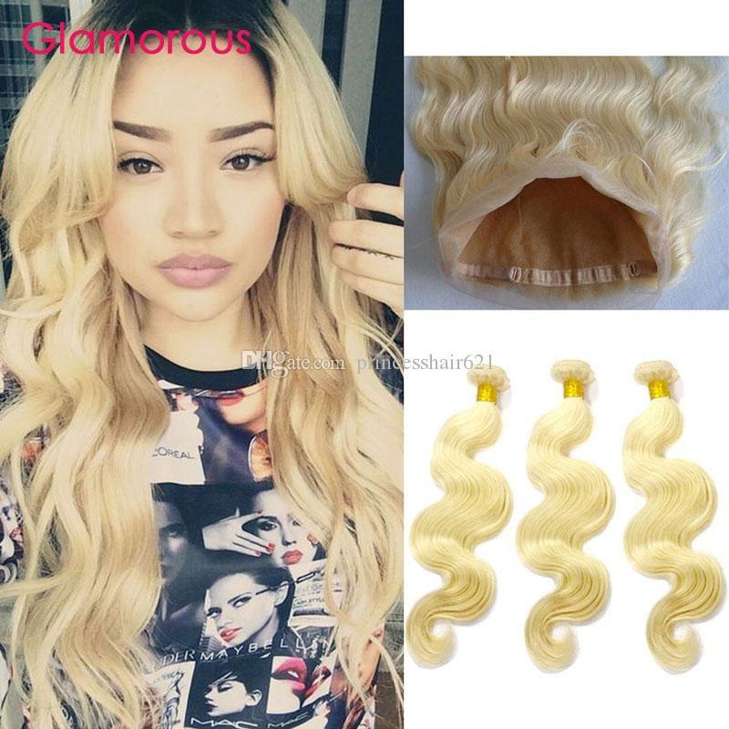 I capelli umani Glamorous dell'onda del corpo tessono con 360 Frontal del merletto Brasiliani peruviani malesi # 613 i pacchi dei capelli umani con 360 chiusura
