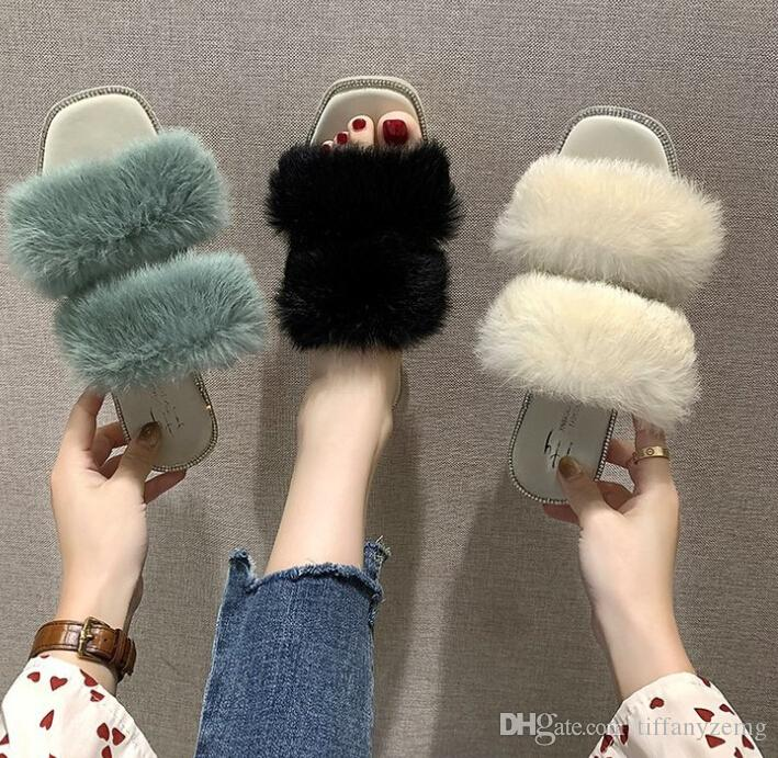 Net red fur shoes slippers female 2020 autumn and summer new Korean version of the wild rhinestone square head wearing a word sandal wholesa