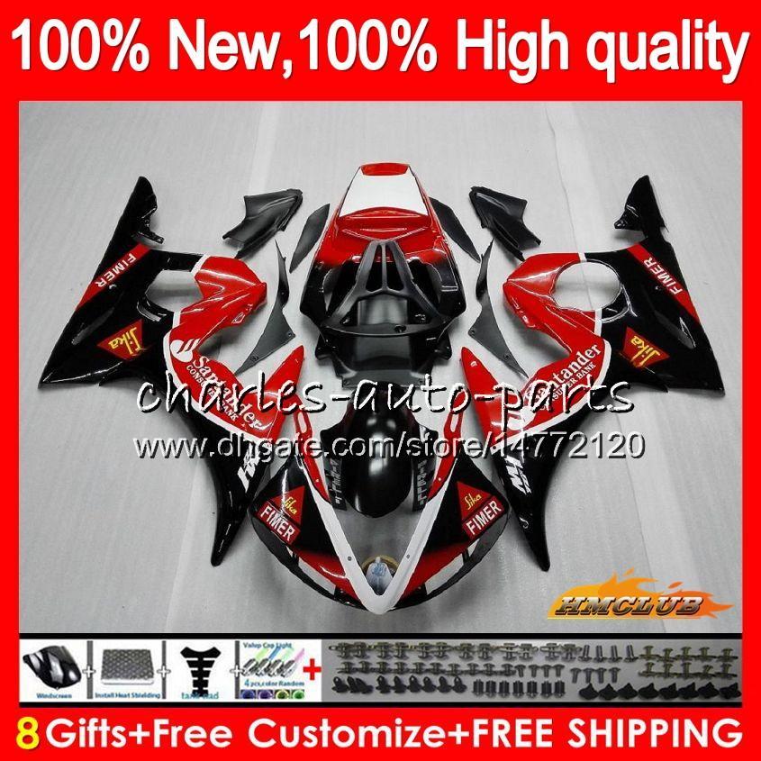 Corpo Kit per YAMAHA YZF 600 R YZF600 6 600cc Santander rosso YZF R6 03-05 59HC.20 YZFR6 YZF600 YZFR6 03 04 05 2003 2004 2005 carenatura + 8Gifts