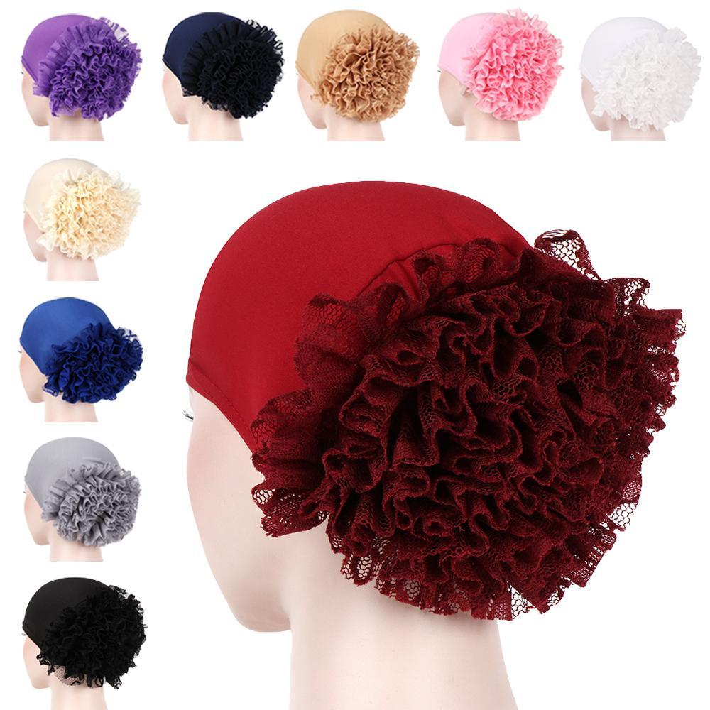 Abaya Frauen Turban Cap-Rüsche-Blumen Muslim Haarausfall Cap Krebs Chemo-Hut Islamische Bonnet Kopftuch Skullies Beanies Headwrap