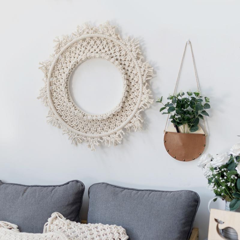 Macramé Colgante de pared Arte Decoración de la pared Nordic Ins hecho a mano tejido tapiz redondo Dream Catcher decoración del hogar mexicano