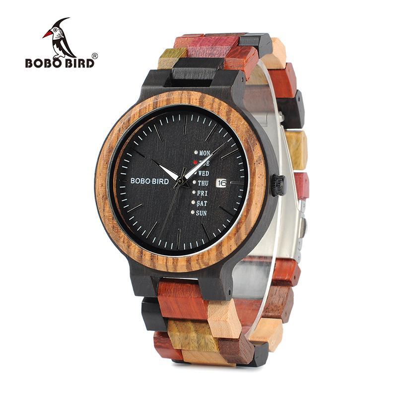 BOBO BIRD P14 antigo Mens Madeira Relógios Data e Semana mostrador do relógio do negócio com único de várias cores, Banda de madeira