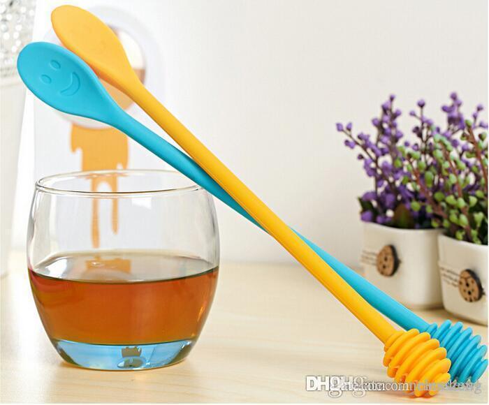 سيليكون الملونة ابتسامة العسل ملعقة شريط تحريك أداة المنقط جرة وعاء طويل مقبض خلط ملعقة الطبخ أدوات مكملات مطابخ