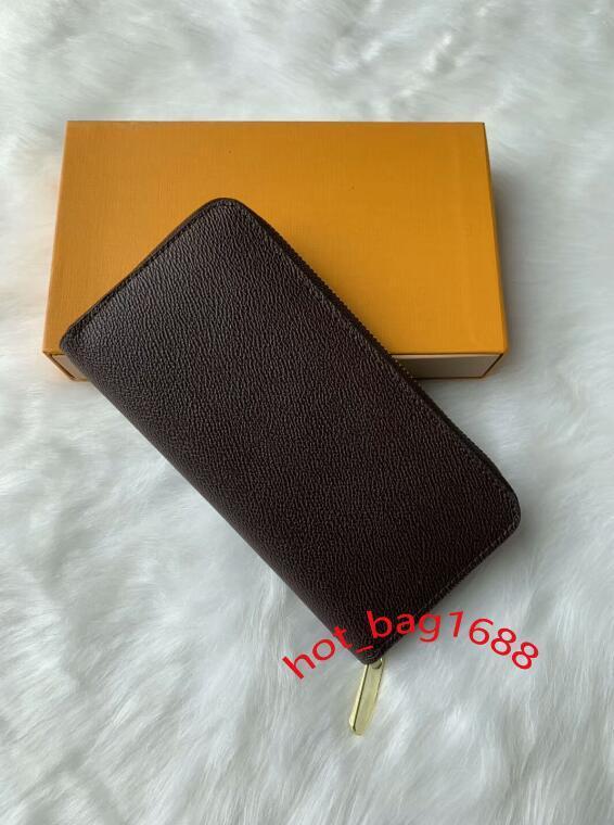Commercio all'ingrosso 6 colori cerniera singolo stilista degli uomini in pelle donna portafogli signora signore borsa lunga con carta di scatola arancione