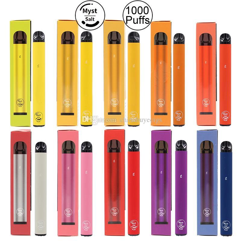 Myst originale sel Plus 1000 + Puffs dispositif à usage unique Vape Pen 650mAh batterie 3,2 ml pré-remplie Kit de démarrage système Vaporisateurs vapeur Portable