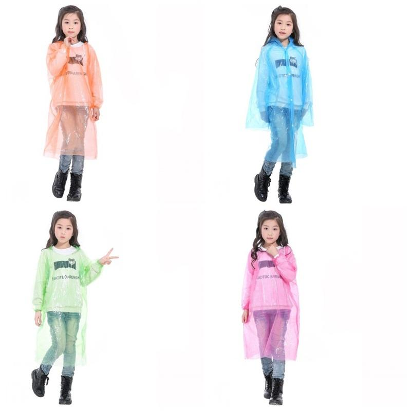 Forma da criança com capuz descartável Raincoat plástico transparente Poncho Emergency rainwears Stretchy Cuff acampamento Deve chover Wear Mix Cor 1 8qh2 E19