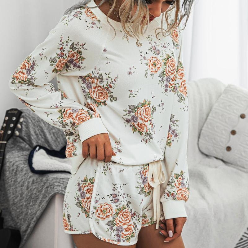 Fashion Flowers Printed Casual jumpsuits women Home Comfortable Ladies Suit two piece set Elastic Waist rompers womens jumpsuit T200704