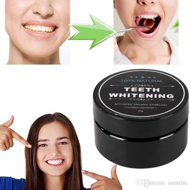 Dentes de grau alimentício Em Pó De bambu dentifrício Higiene Oral Limpeza natural ativado carvão orgânico de coco casca de dente Amarelo Mancha