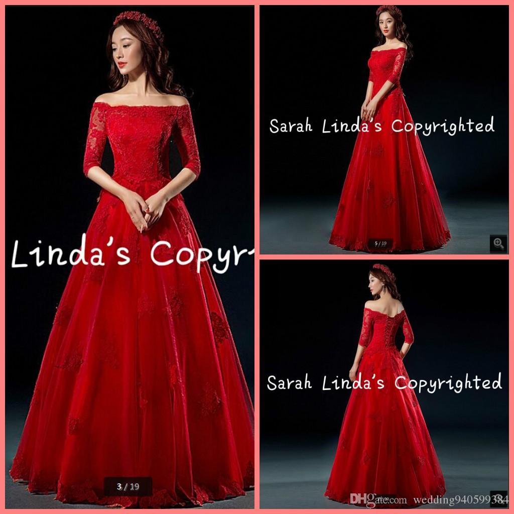 Бесплатная доставка линии от плеча кружева аппликации свадебное платье с половиной рукава корсет стильный длиной до пола, свадебные платья лучшие продажи