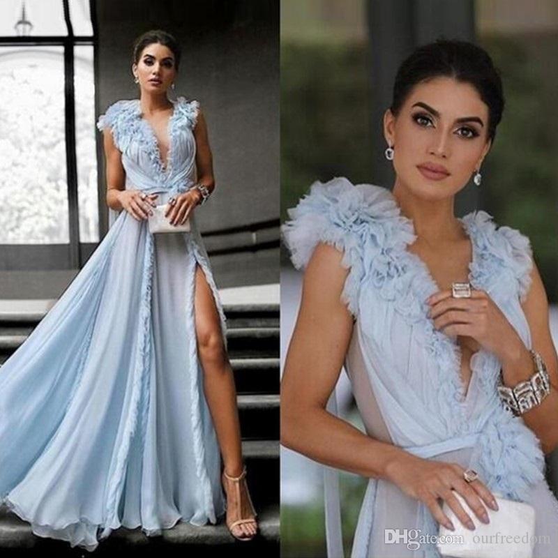 2019 Arabia africana Russo Dividir Celebrity Red Carpet vestidos de aduana hacen cielo azul que fluye vestido de fiesta de longitud completa 3D de la tarde floral formal