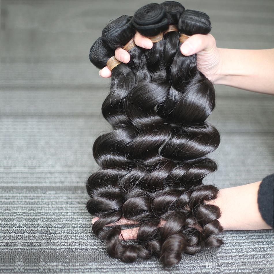 Best Quality Products Peruvian Loose Wave Hair Extension 7a Unprocessed Natural Color Malaysian Hair Double Weft Human Hair Extensions #1B