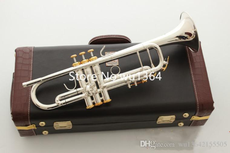 Vender caliente LT180S-37 trompeta si bemol trompeta plateada plata Profesional Instrumentos musicales con el caso del envío