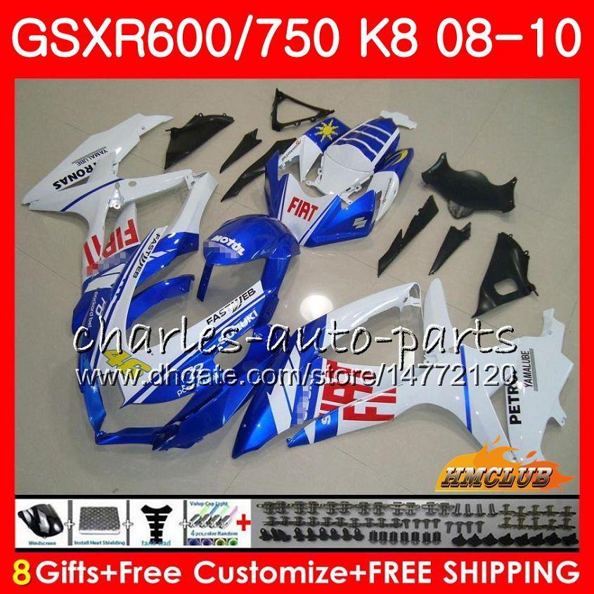 Carrocería para Suzuki GSX-R600 GSXR-750 GSXR600 2008 2009 2010 9HC.77 GSXR750 GSX R750 R600 K8 GSXR 600 750 08 09 10 Factory Blue New Failings