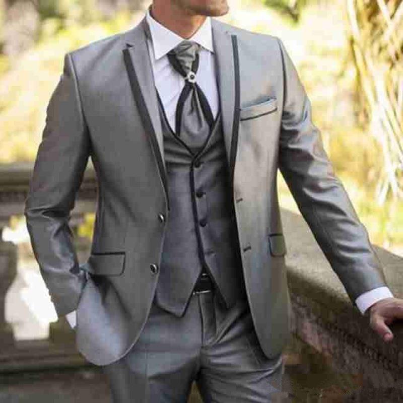 Серые свадебные мужские костюмы из трех частей с надрезом отворот формальный стиль куртка жилет брюки жениха смокинги последний пиджак
