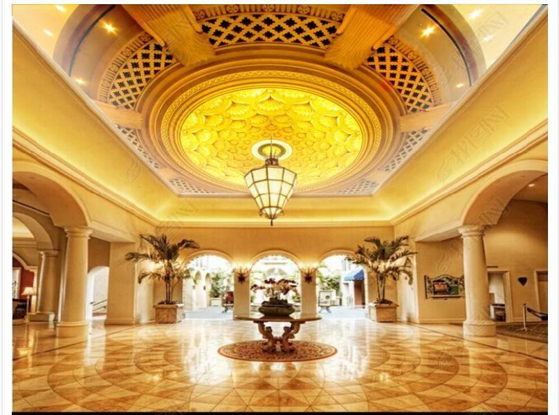 Personalizzato 3D seta zenith murale carta da parati foto decorazione Bella sala dorata rotonda zenith soffitto murale carta da parati per pareti 3d