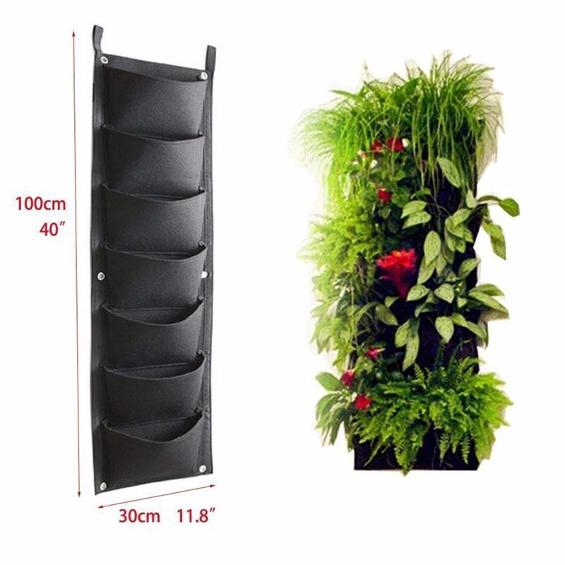 New Design 7 Pockets Outdoor Indoor Vertical Garden Planting Bag Hanging Wall Balcony Garden Seed Grown Flower Pot Diy Decor Supplies