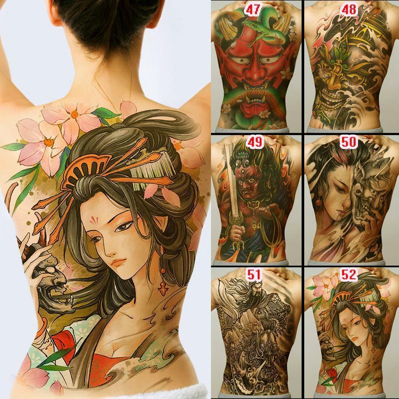 Neue 48 * 35cm große Geisha Tattoos Männer Frauen wasserdichte große temporäre Tätowierung-Aufkleber Full Back Body Art Fake Tattoo Drache-Schädel