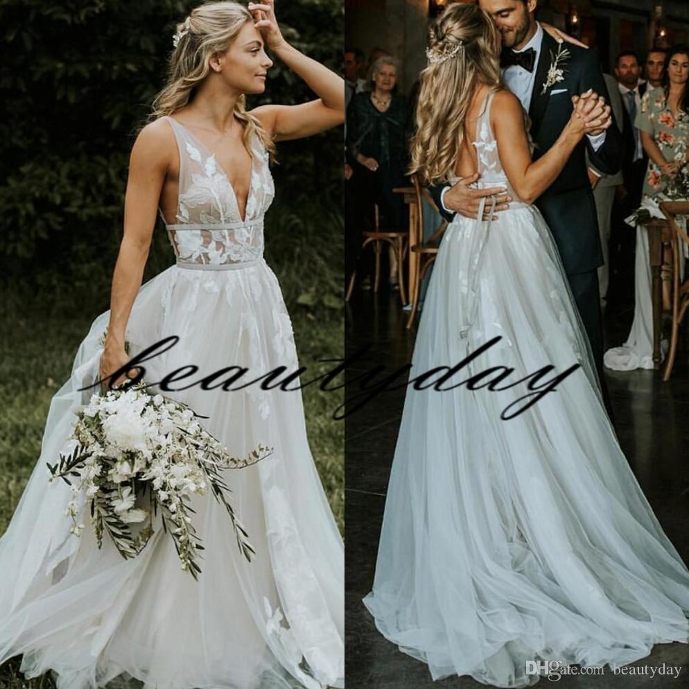 2019 Strand Brautkleider Sexy Boho Land Stil Spitze Brautkleider Sweep Zug Backless Garten Böhmische Braut Plus Größe Robe de Soirée