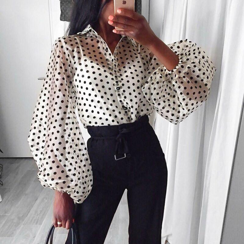 Мода Точки Блузка Женщины Сексуальная Sheer Горошек Органза Блузка Топ Перспектива Слоеного Рукава Blusas Женские Рубашки