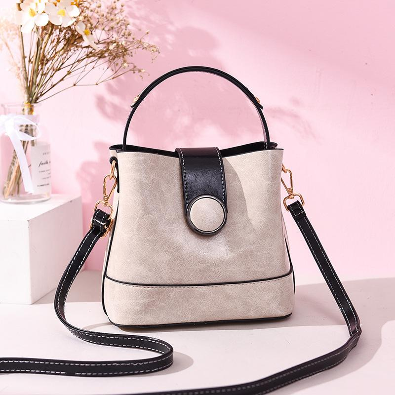 Lovely2019 Skin Bag Woman Texture Joker Bucket Round Magnetic Buckle Trend Handbag Single Shoulder