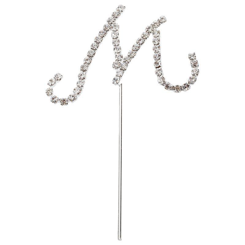 Lettera Alfabeto in argento con strass di cristallo Wedding Cake Topper Decoration M