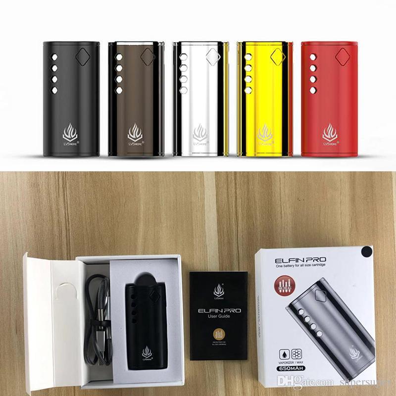 Authentic LVSmoke Elfin Pro Box Mod E-Cigarette Vape Mods 650mAh VV Vape Battery For All 510 Wax Thick Oil Cartridge Vape Pen