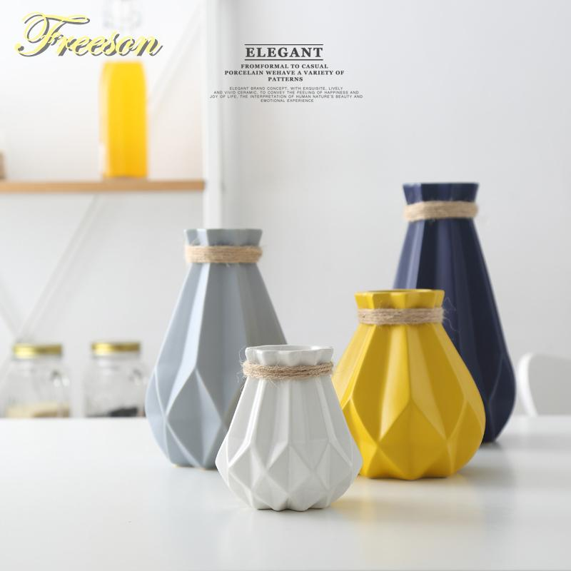 Europe Brief Matt Diamond Porcelain Modern Fashion Ceramic Flower Vase Room Study Hallway Home Wedding Decoration Q190529