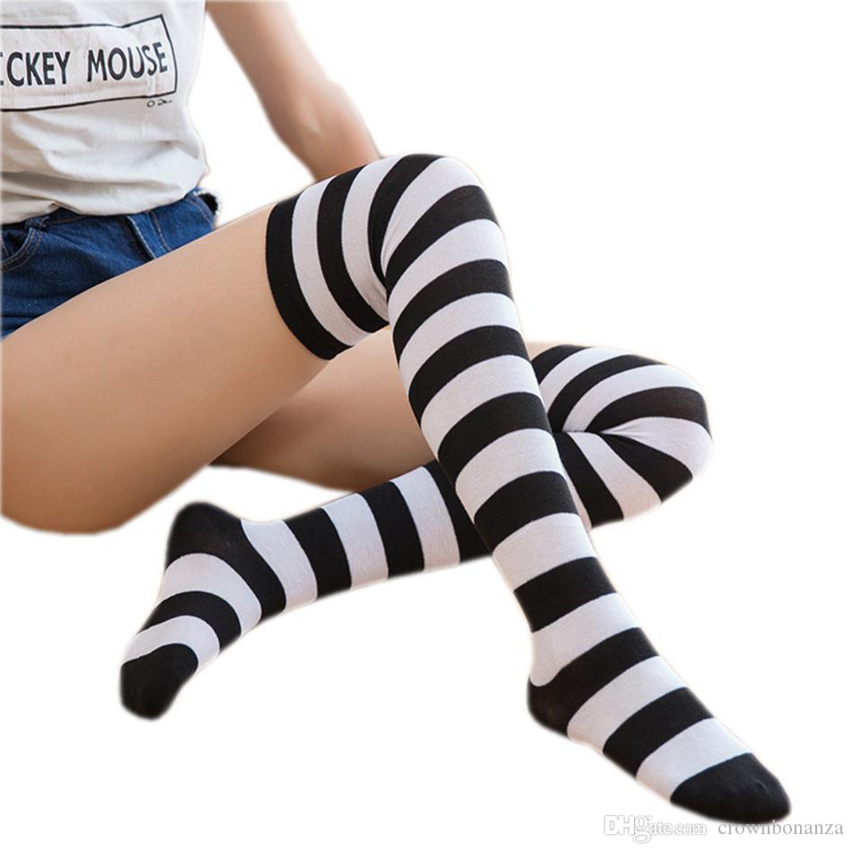 Gestreifte Strümpfe Frauen Printed Socken Kniestrümpfe Mode Strümpfe Oberschenkel Mädchen-Sport-lange Socken Party Dress Up Gamaschen
