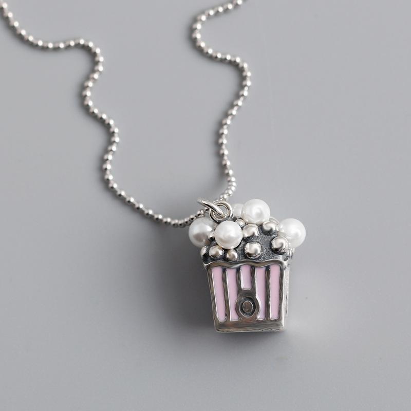 le style gros-japonais et coréens douce collier pendentif cadeau pour les femmes filles 925 perles en argent sterling boîte-cadeau