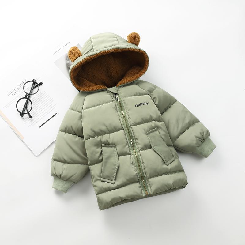 Осень и зима новых корейских детей утолщенные вниз хлопка одежды для мальчиков и девочек мультфильм медведь уши длинные куртки хлопка
